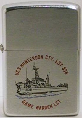 "USS Hunterdon was an LST (Landing  Ship Tank) that supported the PBRs in""Game Warden"", the name given to the operation to stop the flow of communist supplies along the coast of South Vietnam. The Zippo is dated 1969"
