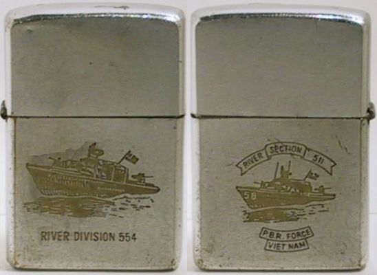 This 1970 Zippo has a PBR for River Division 554 on one side and for Section 511 on the other.  The authenticity of the engraving is questionable