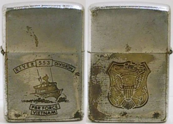 This two-sided 1969 Zippo for River Division 553 with a graphic of the PBR on the fron and the squadron logo on the back
