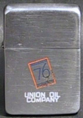 1942 steel case Zippo with line-drawn advertising for the Union 76 chain of gas stations