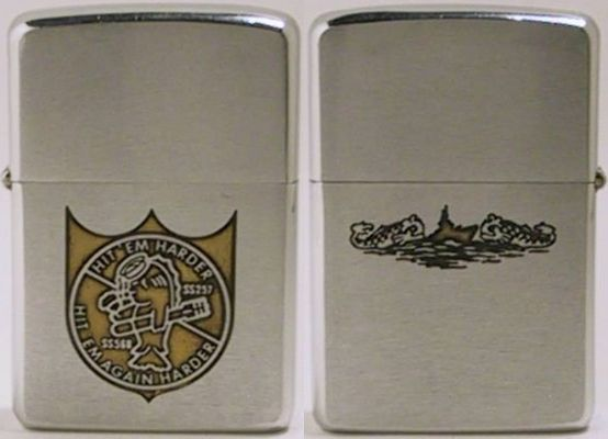 "1958 Zippo for USS Harder, a Tang Class submarine. Its motto is ""Hit 'Em Harder, Hit 'Em Again Harder"""