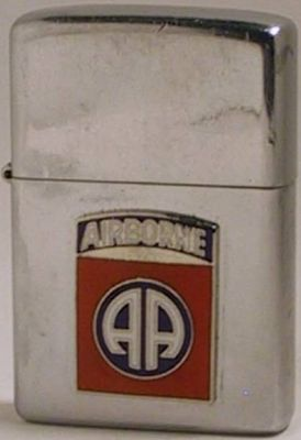 1974 Zippo with an attached 82nd Airborne AA badge