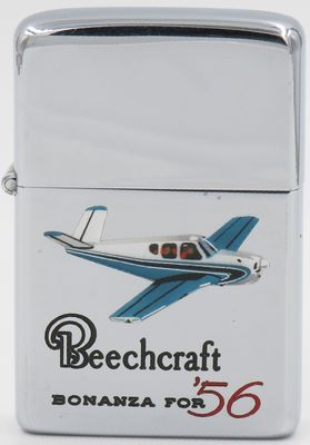 1960-61 Town & Country Zippo with a hand-painted Beechcraft Bonanza 56. The Beechcraft Bonanza is an American general aviation aircraft introduced in 1947 The six-seater, single-engine aircraft is still being produced by Beechcraft and has been in continuous production longer than any other airplane in history