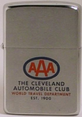 1961 Zippo for The Cleveland Automobile Club World Travel Department Est. 1900