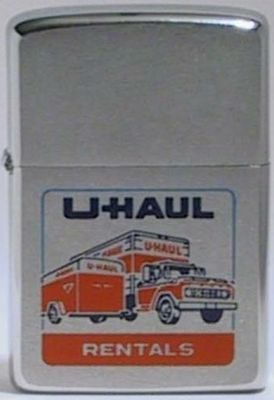 1971 Zippo UHaul Rentals.   U-Haul is a moving equipment and storage rental company, based in Phoenix Arizona that has been in operation since 1945