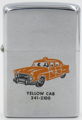 1974 Zippo advertising Yellow Cab taxi service, one of the most well known brands worldwide. Yellow cabs were known in Paris and London throughout most of the 1800s.