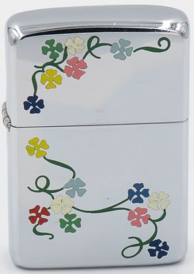 1960  Town & Country Zippo with multi-colored  morning glories