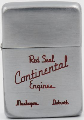 1937-40 Zippo advertising Continental Red Seal Engines, Detroit, Michigan.   Continental Red Seal engines were introduced in Durant automobiles in 1928. Continental also built tractor and aircraft engines.