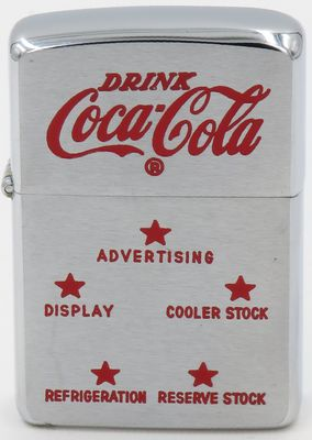 1956   Zippo with advertising directed at prospective Coke distributors. Five stars representing Advertising, Cooler stock, Reserve stock, Refrigeration and Display