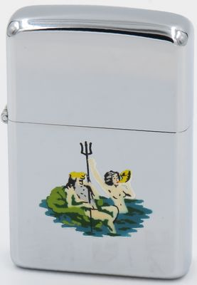 1957 Town & Country Zippo with a hand-pained graphic of King Neptune with a mermaid.  This image was also engraved on the back of USS Navy Zippo lighters to celebrate Shellbacks, sailors who crossed the Equator for the first time