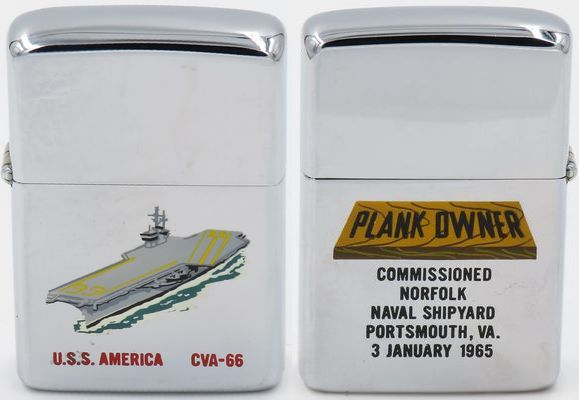 "This USS America 1965 T&C Zippo has an engraved ""plank owner"" on the reverse. A ""plank owner"" is an individual who was a member of the crew of a ship when that ship was placed in commission. Plank owner Zippos are highly valued by collectors"