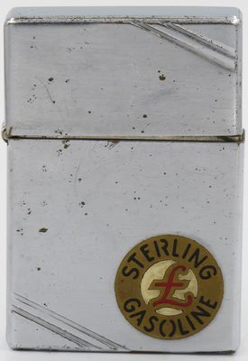 1936 Zippo with a Metallique logo for Sterling Gasoline, an early Pennsylvania gasoline and oil company which became part of Quaker State