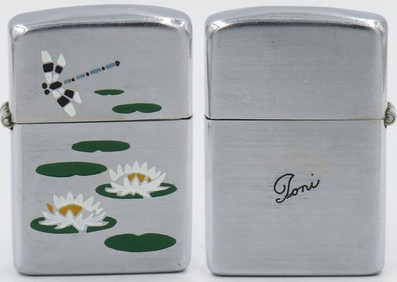 "Rare 1946 Zippo with Town and Country Lily Pond on matte finish for ""Toni"".  The ""Lily Pond"" is one of the first of   eight   Town & Country production models"