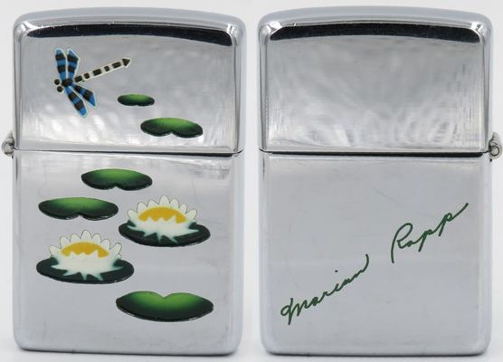 "1949-51 Town & Country Zippo with the lily pond, the signature of ""Marian Rapp"" engraved on the reverse"