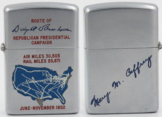 "1952 Town & Country Zippo with a map of the United States showing the route of Dwight Eisnhower's Presidential Campaign in which he won the election in a landslide against the Democratic contender Adlai Stevenson.  The reverse is engraved ""Mary M Caffrey"" who was Secretary to James Hagerty who  served as the White House Press Secretary from 1953 to 1961  and the wife of Tom Stephens, Eisenhower's Appointment Secretary"