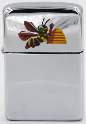 1956 Town & Country Zippo with aa yellow jacket bee and a honeycomb engraved on the lid