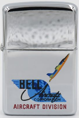 1957 Town & Country Zippo for the Bell Aircraft Division of Bell Aircraft Corporation with the graphic of the logo and a jet heading skyward