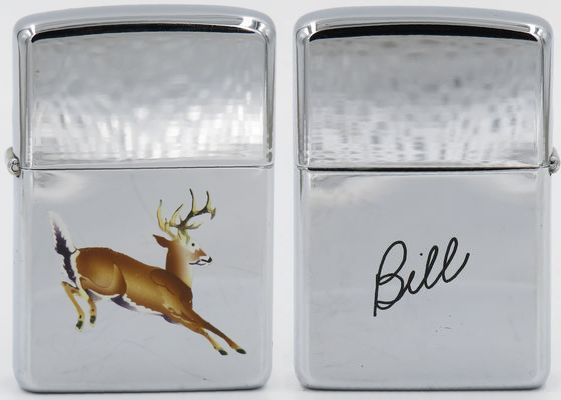 "1959 Town & CountryZippo with a leaping deer and ""Bill"" engraved on the reverse."