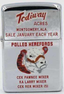 1961 Town & Country Zippo with a graphic of a Hereford cow advertising Todiway Acres in Montgomery Alabama.