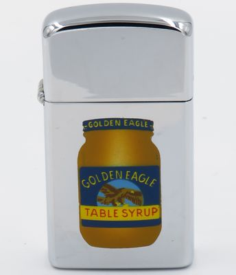 1964 slim Town & Country Zippo with the image of a jar of Golden Eagle Table Syrup