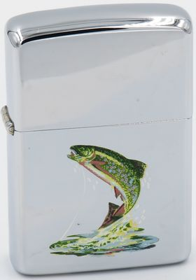 1966 transitional Town & Country Zippo with a trout