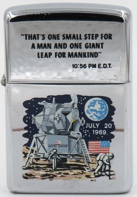 1969 transitional Town & Country moon lander Zippo commemorating the first time man walked on the moon.  Has rare Neil Armstrong quote engraved on the lid.  The Moon Lander Zippo is considered one of the last Town & Country Zippo produced