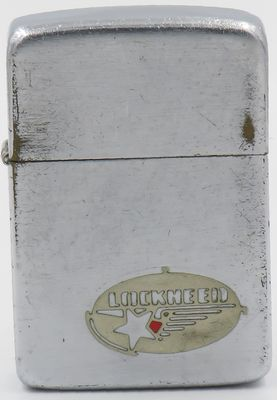 1938-39 metallique Zippo with the early logo of Lockheed Corporation, an aerospace company founded in 1912 and later merged with Martin Marietta to form Lockheed Martin