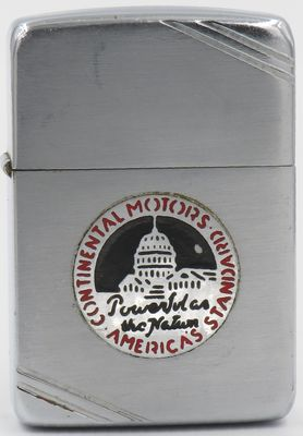 "1940-41 Zippo with a metallique logo of Continental Motors with the slogan ""Powerful as the Nation"". Continental Motors Company was a manufacturer of internal combustion engines founded in 1905"