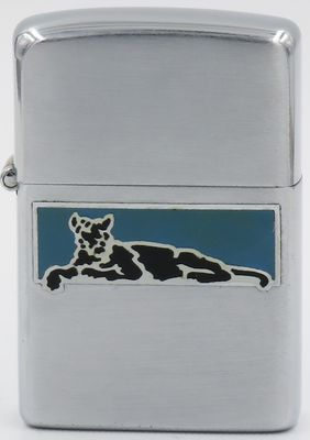 Rare 1946-47 metallique Zippo with the image of a large feline at rest