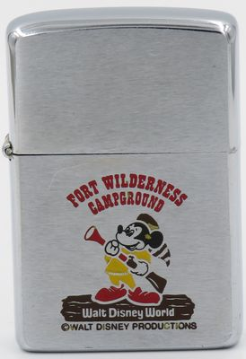 This 1979 Mickey Mouse Zippo advertises the Fort Wilderness Campground at the Disney World Resorts in Florida