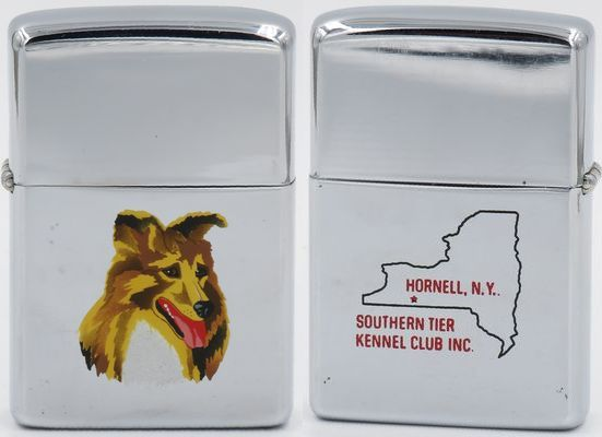 1962 Town & Country Zippo with a Collie on one side and advertising Southern Tier Kennel Club Inc. in Hornell, New York