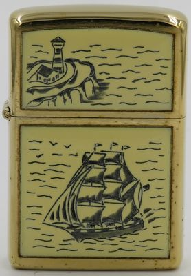 Another 1977 Zippo with the Schooner design. Since the scrimshaw work was done by hand, small variations can be found in comparing the lighters to each other.