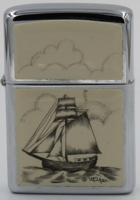 1980 Zippo with a sloop scrimshawed by Lois McLane.