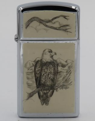 1980 slim Zippo with a bald eagle scrimshawed by Lois McLane.