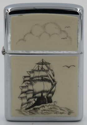 1980 Zippo with a three-mast sailing ship scrimshawed by Lois McLane
