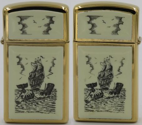 1979 slim Zippo with the Whaler design engraved on both sides.  The panels are Ultralite and the engravings are machine produced.