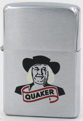 1958 Zippo advertising Quaker Oats.  Founded in 1901 by the merger of four oat mills Quaker is an American food conglomerate based in Chicago owned by PepsiCo since 2001