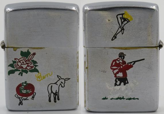 """1948-49 Employee engraved Zippo with a rose, a tomato on a figure, a donkey, the name """"Gen"""" on the obverse, legs in stockings and a Sports Series hunter on the reverse"""