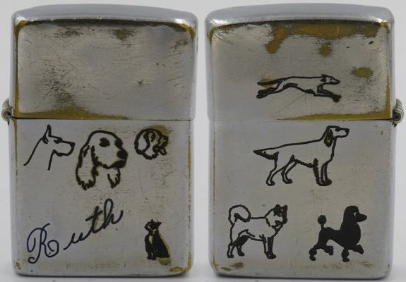 1950-51 Zippo for Ruth with eight line-drawn dogs, the heads of a Great Dane, a Cocker Spaniel, a Cockapoo (?) and a French Bulldog on the front, and a Greyhound, Golden Retriever, Malamute and black Poodle on the back