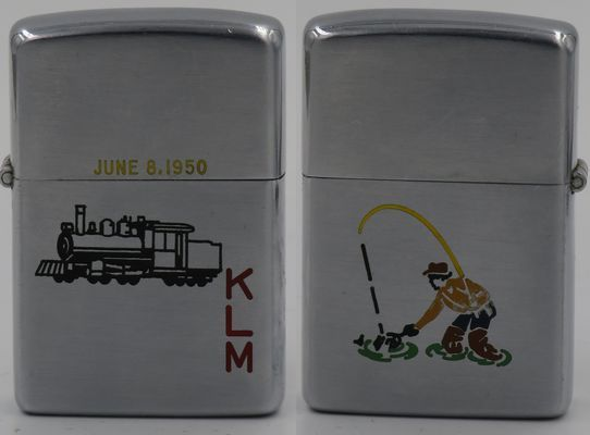 """1950 employee-engraved Zippo with a line-drawn locomotive and initials """"KLM"""" on the front, a Sports Series fisherman on the back"""