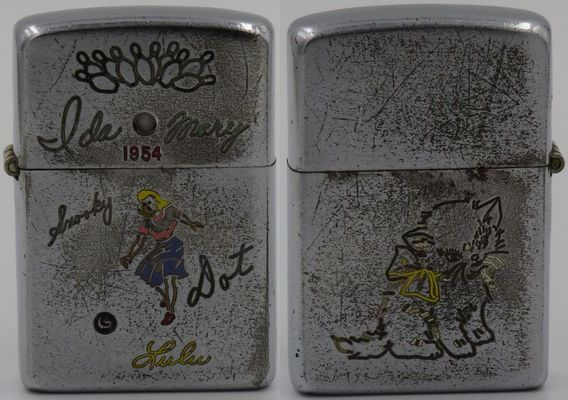 Well worn 1953 Zippo with a lady bowler and bowling pins along with the names Ida, Mary, Snooky and Dot engraved on the front, a kitten with a yellow ribbon on the back.