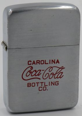 1938-39 Zippo for the Carolina Coca-Cola Bottling Company.
