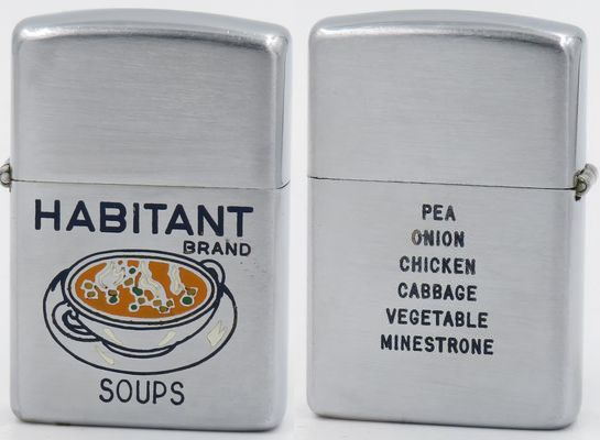 1953 Zippo advertising Habitant Brand Soups which has been producing soups in Canada since 1918
