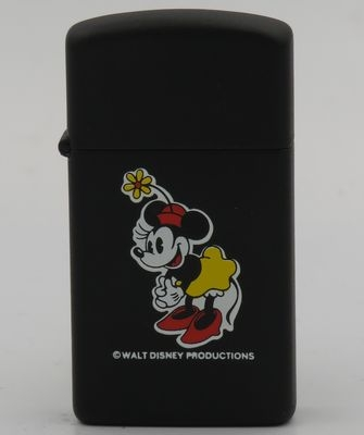 1983 prototype slim Zippo with a large Minnie Mouse on matte black finish