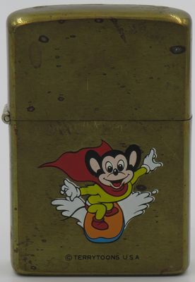 1982 prototype Zippo with a surfing Mighty Mouse on brass