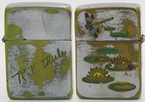 1938 Zippo with the name R.H. Thiele on the reverse. This is the earliest known Zippo with the classic Town & Country image of the dragonfly and floating lily pads