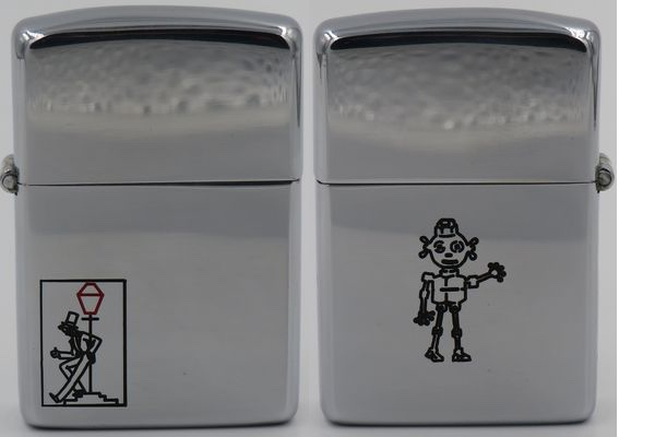 1946-47 high-polish Zippo with the classic Drunkard/Reveler on the front and the National Screw robot on the reverse. This is a Dale Hutton Zippo