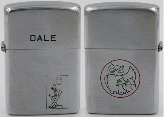 """1946 Zippo with the classic drunkard or reveler design with """"Dale"""" on the lid for Dale Hutton, long-time foreman of the Zippo engraving department. The line drawing on the reverse depicts a winking owl with her chicks which is the old logo of Pennzoil"""