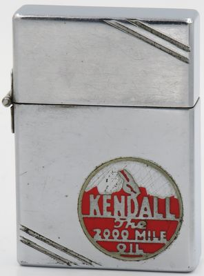 Rare 1934-35 outside hinge Zippo with a Kendall logo in metallique.  About 70% of the original paint remains