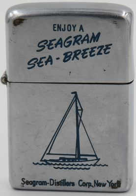 1952-53 Zippo advertising Seagram Distilleries.  Seagram was a large Canadian distiller of Canadian whisky, at its height in the 1990s it was a diversified multinational that was the largest owner of alcoholic beverage lines in the world. It has since imploded.